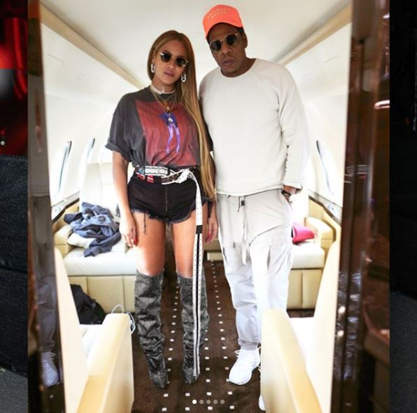 Beyoncé Models Short Shorts and $10K Saint Laurent Boots on Private Jet with JAY-Z