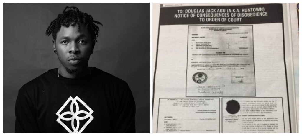 Eric Many Files Contempt of Court Case over Runtown's New Song