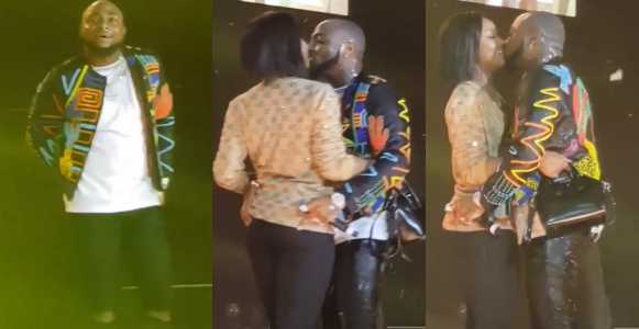 Davido And Girlfriend, Chioma Kiss Passionately On Stage -Video