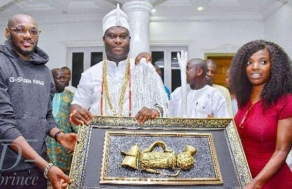 Ooni of Ife hosts 2Face Idibia, wife Annie