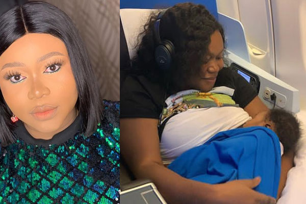 Ruth Kadiri Breast feeds her newborn in the airplane as they head to Dubai