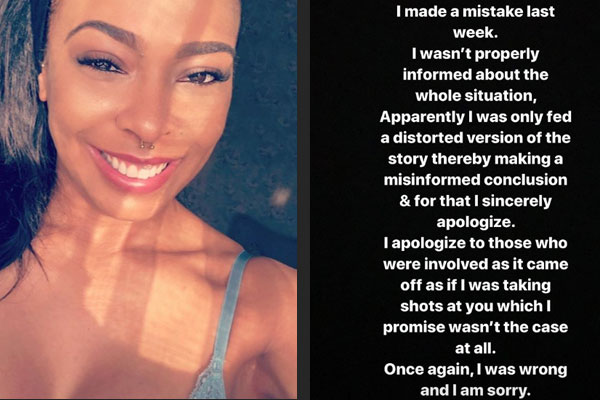 TBoss puts forths her apologies after taking sides with Davido's accusers