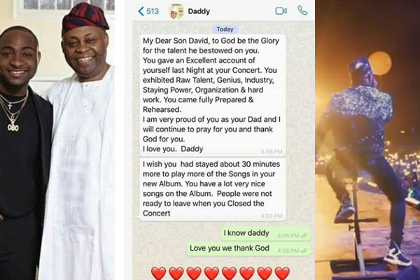 Davido's dad, Chief Adeleke pens lovely message to his son to congratulate him for his successful concert.