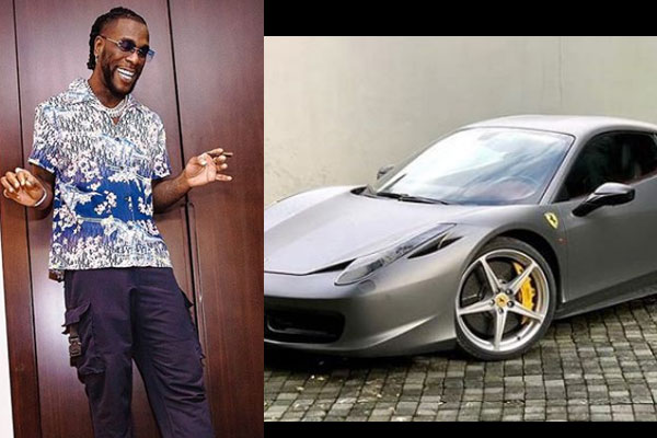 Grammy nominated artist, Burna Boy acquires a Ferrari 458 super car