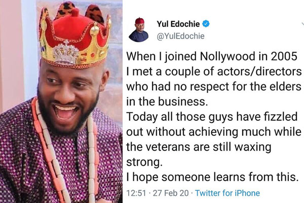 Yul Edochie weighs in on the importance of respect in the Nollywood industry