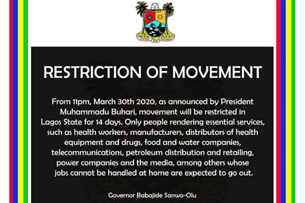 List of those not affected by the restriction of movement in Lagos state