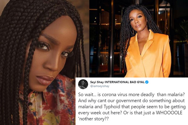 Nigerian singer, Seyi Shay comes under attack on Twitter after questioning the deadliness of covid19