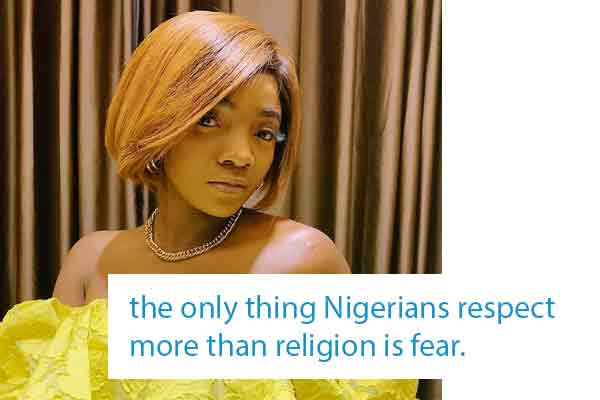 Simi: the only thing Nigerians respect more than religion is fear.