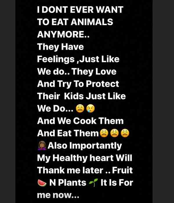 Annie Idibia says goodbye to eating meat