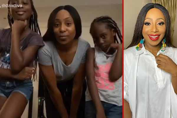 Dakore Egbuson-Akande and little girls takes on the #imasavagechallenge