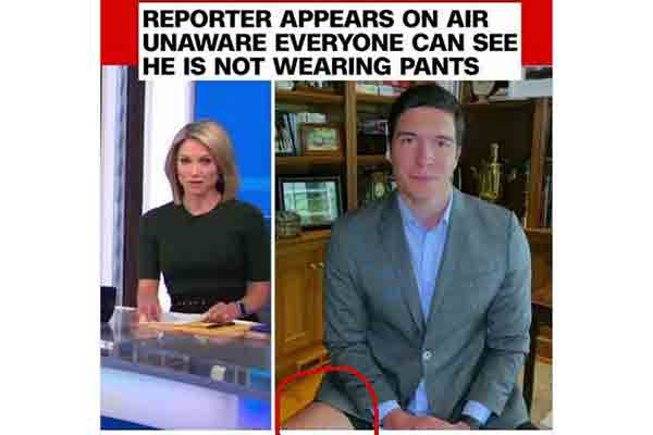 A TV reporter appears on screen with no pants on