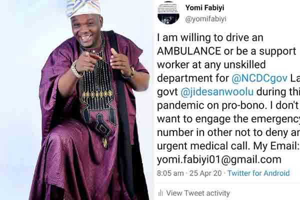 Yomi Fabiyi wants to offer unskilled support for NCDC