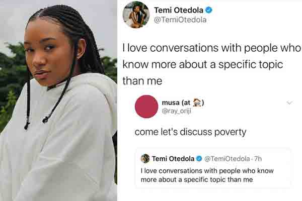 Between Temi Otedola and a Twitter User
