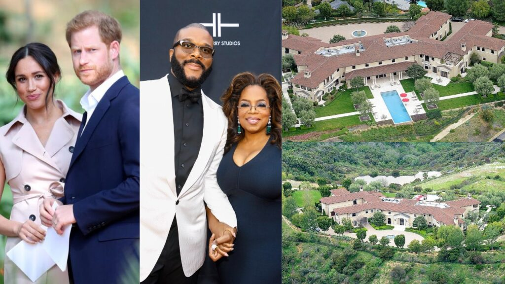 Meghan Markle and Prince Harry are living in Tyler Perry's £15million Beverly Hills mansion thanks to their mutual friend Oprah Winfrey (photos)