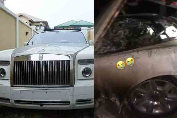 Rolls Royce car goes up in flames in the street of Lagos
